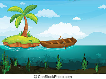 plam tree and rowboat - illustration of a plam tree and...