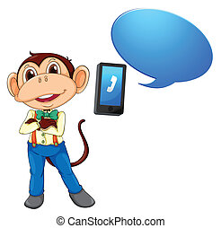 a monkey with cell phone - illustration of a monkey with...