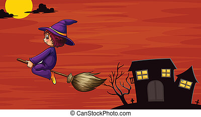 witch flying on broom - illustration of a witch flying in...