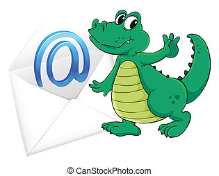 a crocodile with mail envelop - illustration of a crocodile...