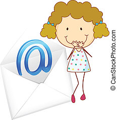 a girl with mail envelop - illustration of a girl with mail...