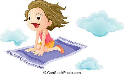 a girl flying on mat