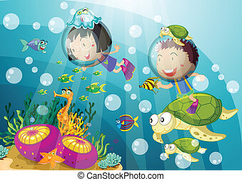 tortoise and kids in deep water
