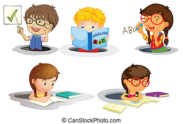kids studying - illustration of a kids studying on a white...