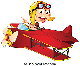 monkey driving aircraft - illustration of a monkey driving...