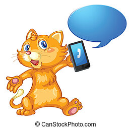 a mouse with cell phone - illustration of a mouse with cell...