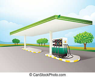 petrol pump - illustration of a petrol pump on a road