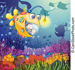 monster fish and kids - illustration of a monster fish and...