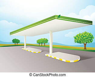 empty petrol pump shade - illustration of a empty petrol...