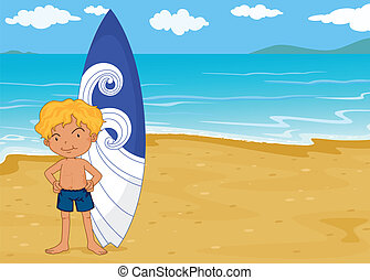 a boy with surf pad - illustration of a boy with surf pad on...
