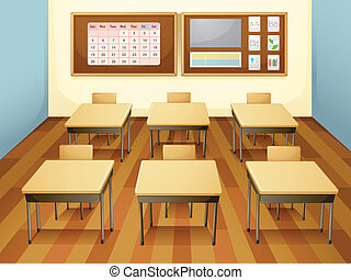 classroom - illustration of a classroom with table and...