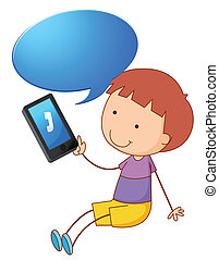a boy with cell phone - illustration of a boy with cell...