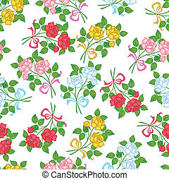 Seamless floral background, flowers rose isolated on the...