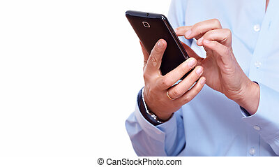 Hands of woman with a smartphone Isolated on white