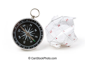 Calendar paper ball and compass, concept of time planning