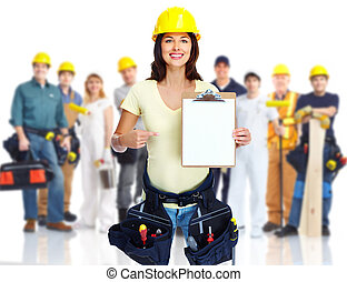 Contractor woman and group of industrial workers. - Group of...