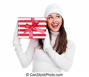 Beautiful christmas girl with a gift. - Beautiful christmas...