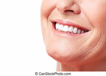 Happy woman smile Dental care White teeth