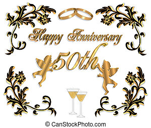 50th Wedding rings card - 3D Illustration design for party,...