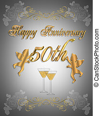 50th Wedding anniversary - 3D Illustration design for party,...