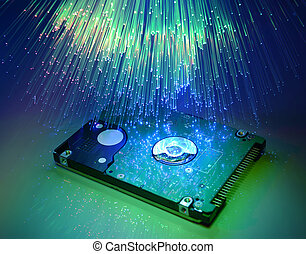 computer harddisk and heads on technology fiber optics...