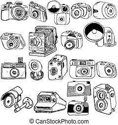 foto, cámara, dibujos