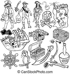 Pirate icons sketch - Different pirate icons sketch over...