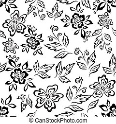 Seamless floral background, outline - Seamless floral...
