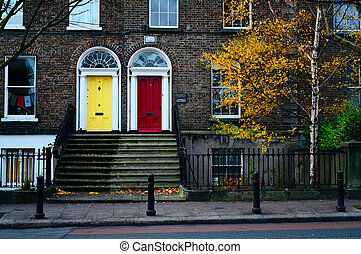 Dublin doors. Ireland - Traditional house facade in Dublin....