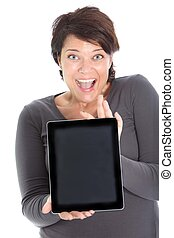 Excited female showing iPad - An excited brunette female...