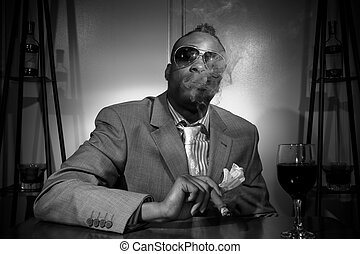 a stylish african american smoking his cigar in black and...
