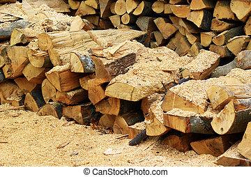 Wood inside sawmill - Chopped wood inside sawmill