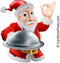 Santa with food - A cartoon happy Santa doing a chefs...
