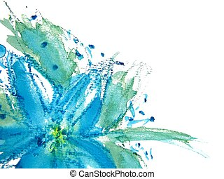 Abstract Floral Watercolor 2 - Pretty Blue Watercolor flower...