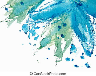Abstract Floral Watercolor 3 - Pretty Blue Watercolor flower...