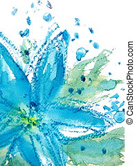Abstract Floral Watercolor 1 - Pretty Blue Watercolor flower...