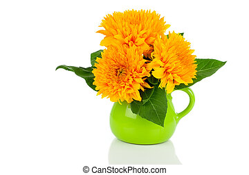 Beautiful sunflower bouquet in green jug, on white...