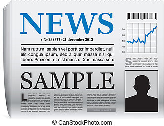 Vector newspaper icon - Vector paper newspaper icon on white...