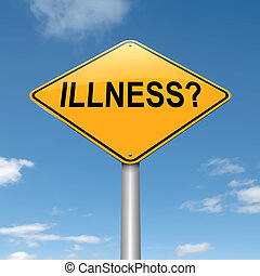 Illness concept - Illustration depicting a roadsign with an...