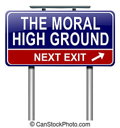 Moral high ground. - Illustration depicting a roadsign with...