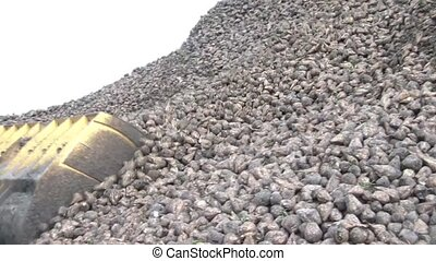 Man Made Avalanch - Sugar Beets - Bulldozer bucket fills up...