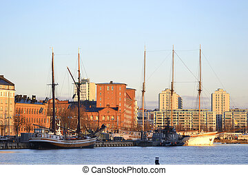 Sailing vessels in the center of Helsinki, Finland