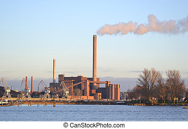 Coal power station - View of coal power plant in Helsinki,...