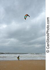 kite surfer at St. Augustine Beach, florida.