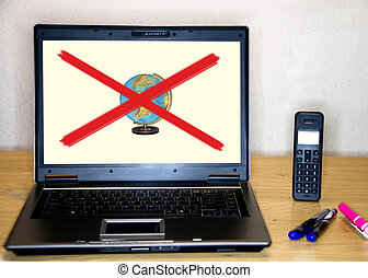 Laptop with globe and red cross