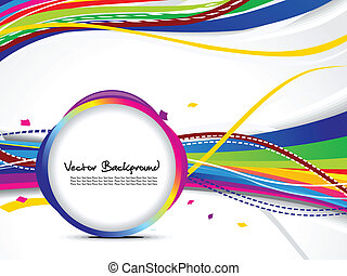 abstract colorful wave background with circle vector...