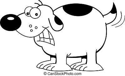 Cartoon Dog Wagging Tail (Black and - Black and white...