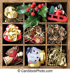 Wood box with old decoration items for Christmas tree