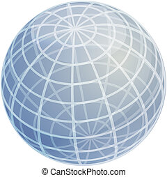 Grid sphere illustration - Blank glossy sphere with 3d grid...