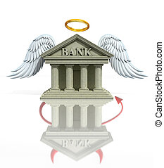 banking problems 3d concept - angel bank seen as a devil...